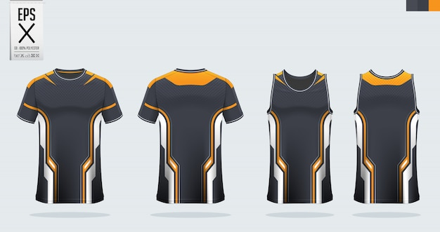 Camiseta de fútbol, kit de fútbol, plantilla de uniforme de baloncesto.