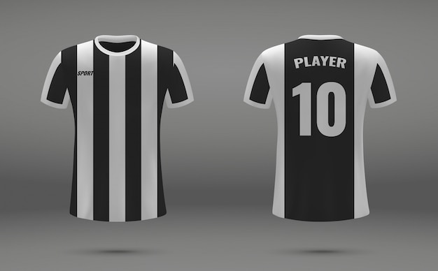 Camiseta de fútbol realista, camiseta de la juventus, plantilla de uniforme para el fútbol.