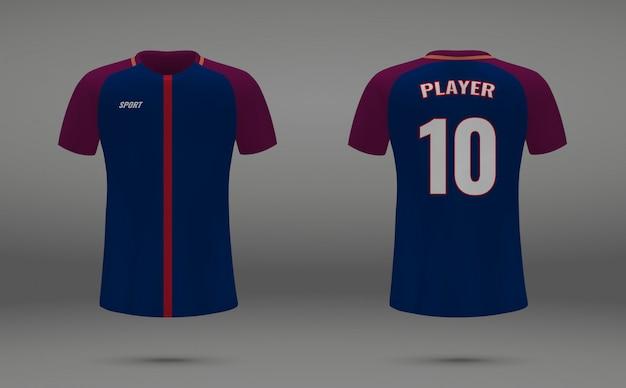 Camiseta de fútbol realista, camiseta de psg, plantilla de uniforme para el fútbol. Vector Premium