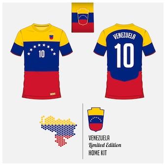 Camiseta de fútbol de venezuela o plantilla de kit de fútbol.