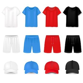 Camiseta y gorra de béisbol y pantalones cortos en blanco