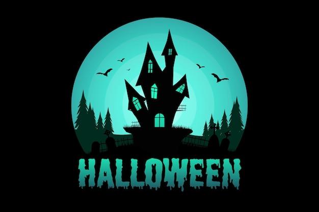 Camiseta halloween casa pino árbol murciélago naturaleza vintage ilustración
