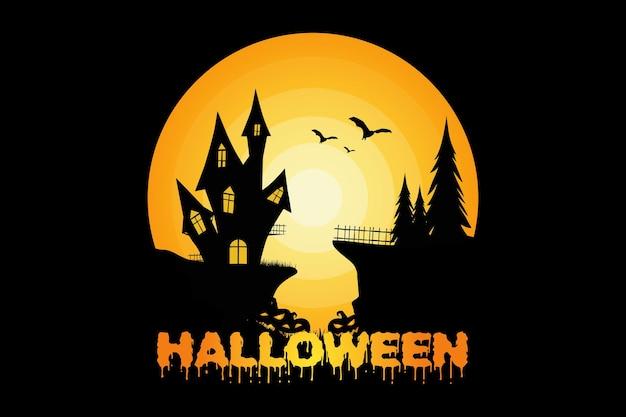 Camiseta halloween truco o trato pino calabaza naturaleza vintage ilustración