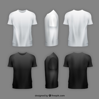 Camiseta de hombre en diferentes perspectivas con estilo realista