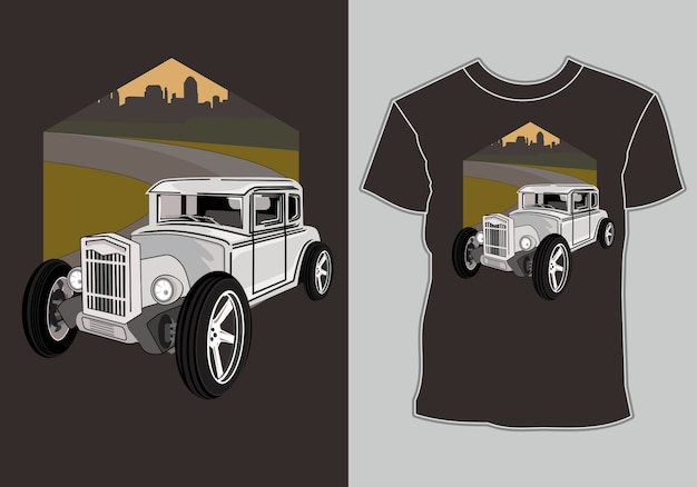Camiseta, hot road retro vintage car ilustración