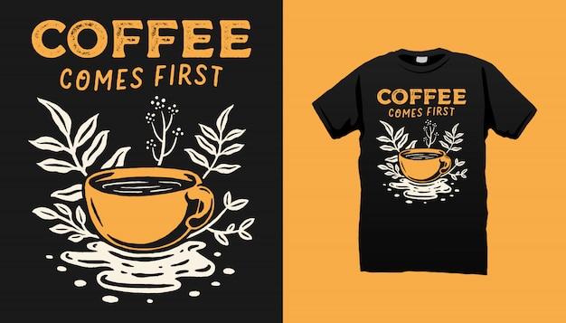 Camiseta de la ilustración del café