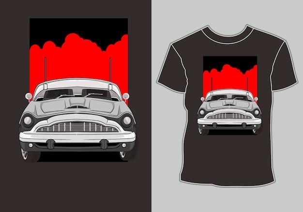 Camiseta, ilustración retro vintage car