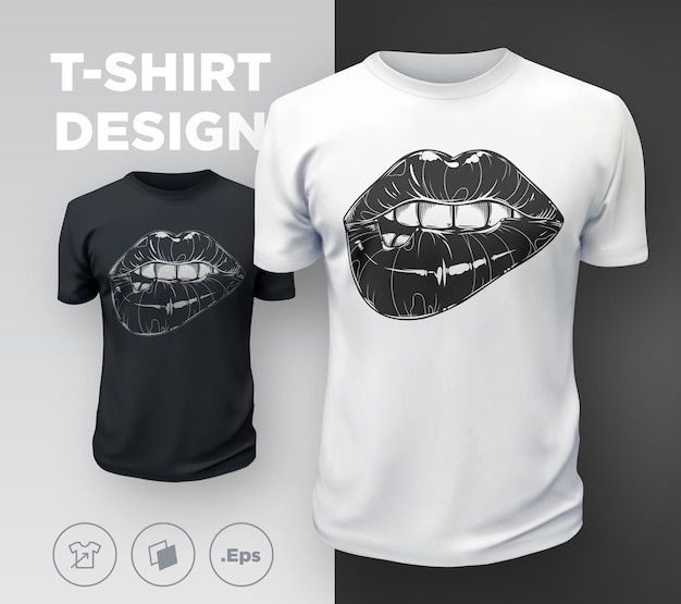 Camiseta labios mujer estampada