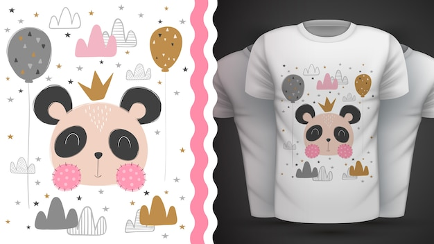 Camiseta linda panda