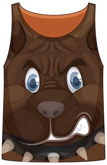 Camiseta sin mangas con estampado de cara de perro feroz