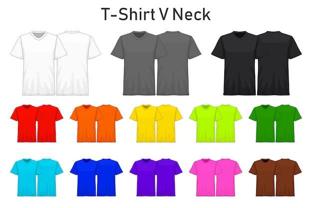 Camiseta maqueta v cuello colección de color set