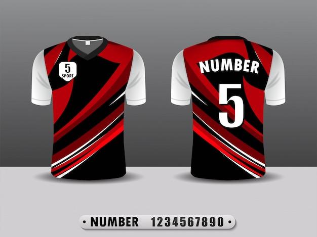 Camiseta negra y roja del club de fútbol de diseño deportivo.