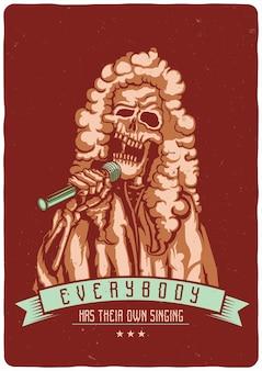 Camiseta o cartel con ilustración de cantante muerto