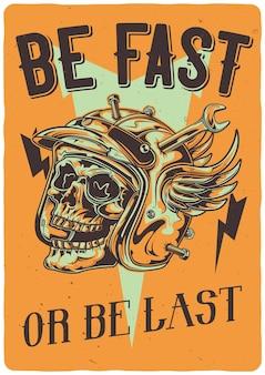 Camiseta o póster con ilustración de calavera en casco de motocicleta dañado
