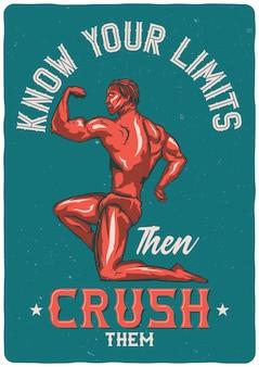 Camiseta o póster con ilustración de culturista