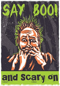 Camiseta o póster con ilustración de persona asustada