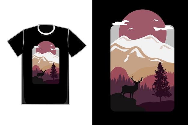 Camiseta plana montaña ciervo bosque