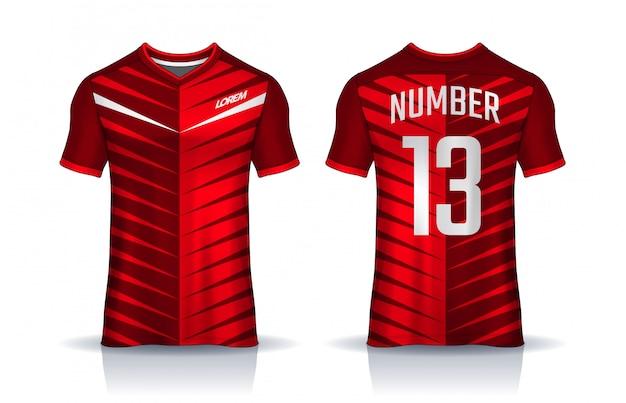 Camiseta plantilla de diseño deportivo, camiseta de fútbol para club de fútbol. vista frontal y posterior uniforme.