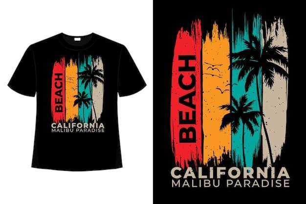 Camiseta playa california paraíso palmera estilo pincel retro vintage ilustración