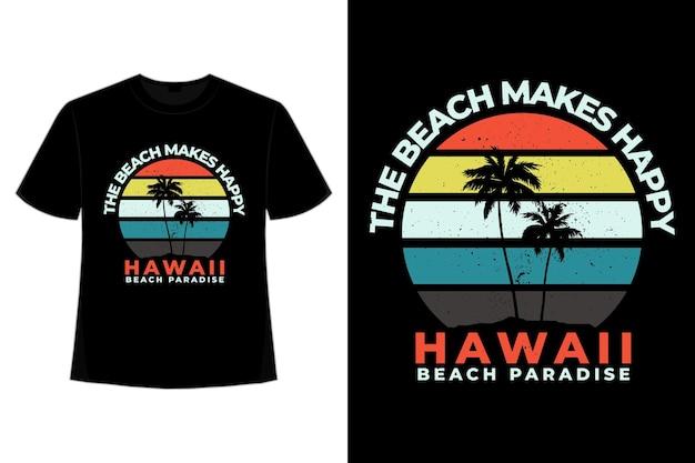 Camiseta playa retro hawaii paraíso vintage