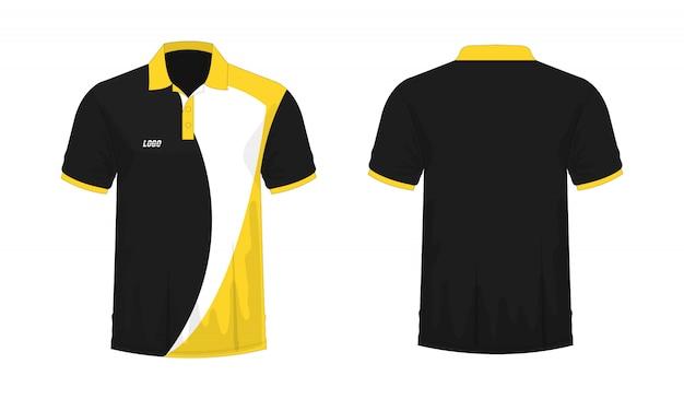 Camiseta polo amarillo y negro plantilla para diseño sobre fondo blanco.