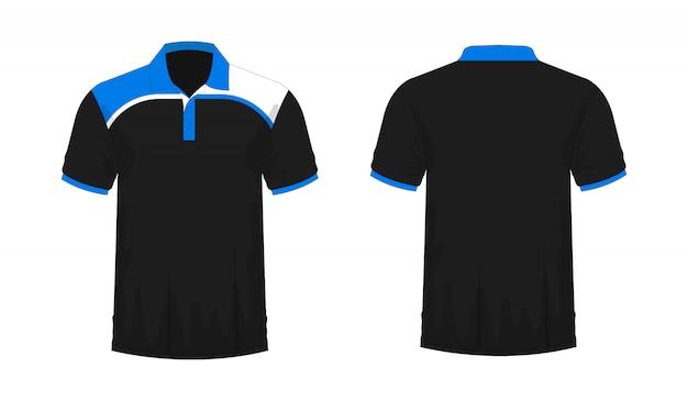 Camiseta polo azul y negro plantilla para diseño sobre fondo blanco.