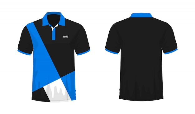 Camiseta polo azul y negro plantilla para diseño.