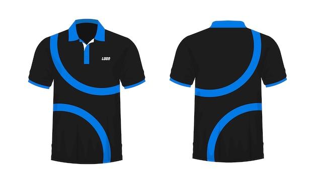 Camiseta polo azul y plantilla negra para diseño sobre fondo blanco. ilustración vectorial eps 10.