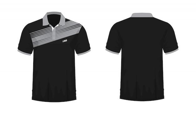Camiseta polo gris y negro t ilustración
