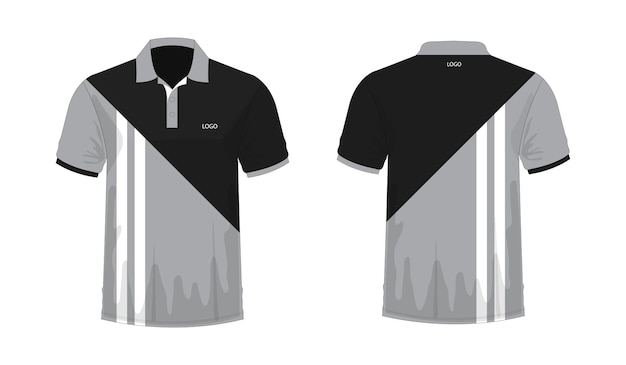Camiseta polo gris y plantilla negra para diseño sobre fondo blanco. ilustración vectorial eps 10.