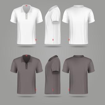 Camiseta de polo para hombre en blanco y negro delante de la espalda y vistas laterales vector maquetas. camiseta de moda de plantilla para
