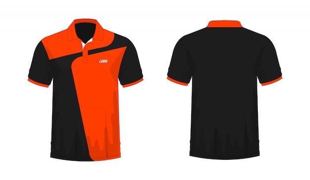 Camiseta polo naranja y negro plantilla para diseño sobre fondo blanco.