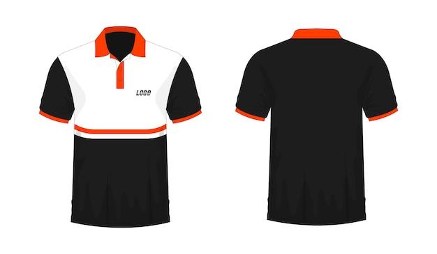 Camiseta polo naranja y plantilla negra para diseño sobre fondo blanco. ilustración vectorial eps 10.