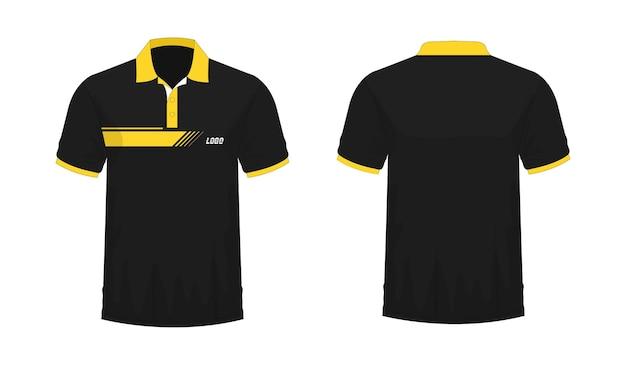 Camiseta polo plantilla amarilla y negra para diseño sobre fondo blanco. ilustración vectorial eps 10.