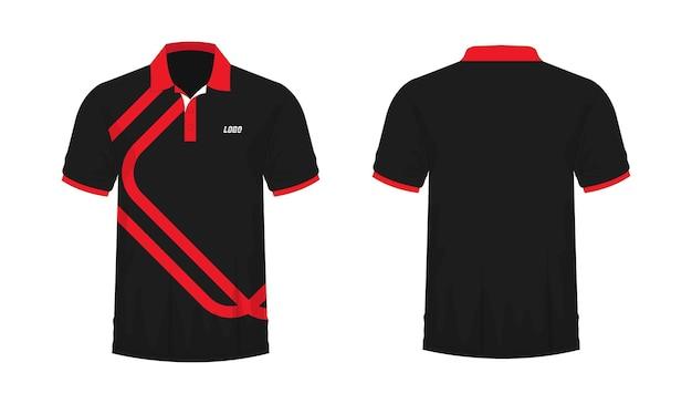 Camiseta polo plantilla roja y negra para diseño sobre fondo blanco. ilustración vectorial eps 10.