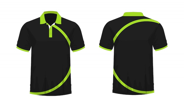 Camiseta polo verde y negro plantilla para diseño sobre fondo blanco.