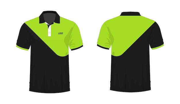 Camiseta polo verde y plantilla negra para diseño sobre fondo blanco. ilustración vectorial eps 10.