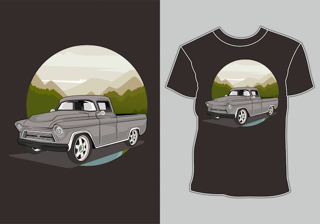 Camiseta retro vintage en montaña