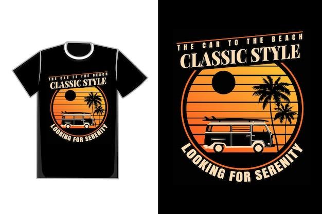 Camiseta silueta camioneta coche playa puesta de sol estilo retro vintage
