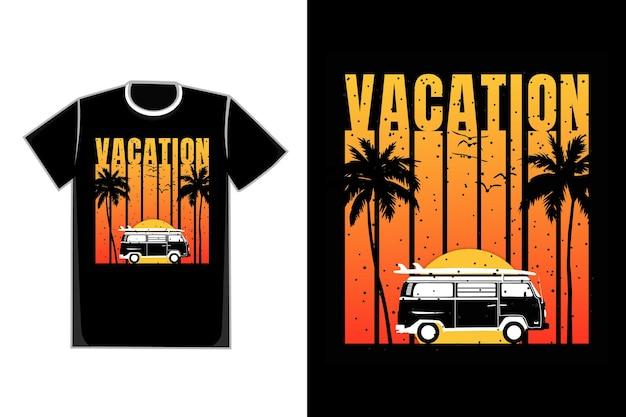 Camiseta silueta coche playa verano atardecer estilo retro vintage