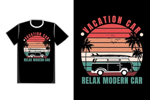 Camiseta silueta coche vacaciones estilo retro moderno