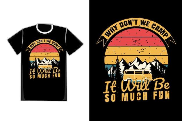 Camiseta silueta montaña coche campamento estilo retro vintage