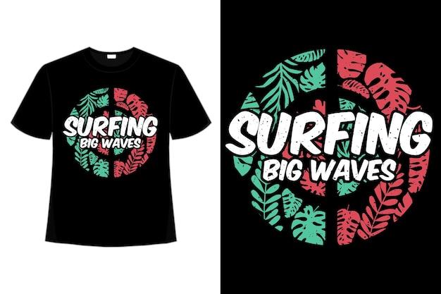 Camiseta surfeando olas grandes hoja verde rojo estilo retro vintage ilustración