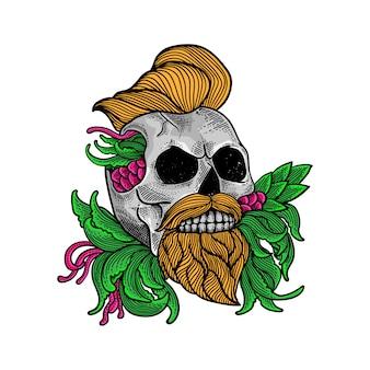 Camiseta y tatuaje colorido del arte del cráneo