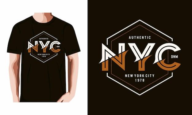 Camiseta de tipografía de nyc vector premium