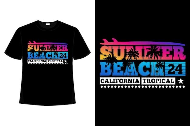 Camiseta tipografía verano playa california puesta de sol tropical hermosa vintage