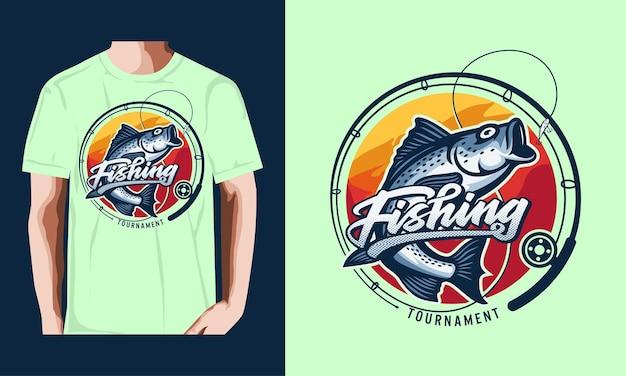Camiseta, torneo de pesca, estilo, vendimia, ilustración, vector premium