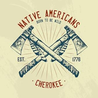 Camiseta de tradiciones indias nativas. nacional estadounidense. cuchillo y hacha, herramientas e instrumentos.