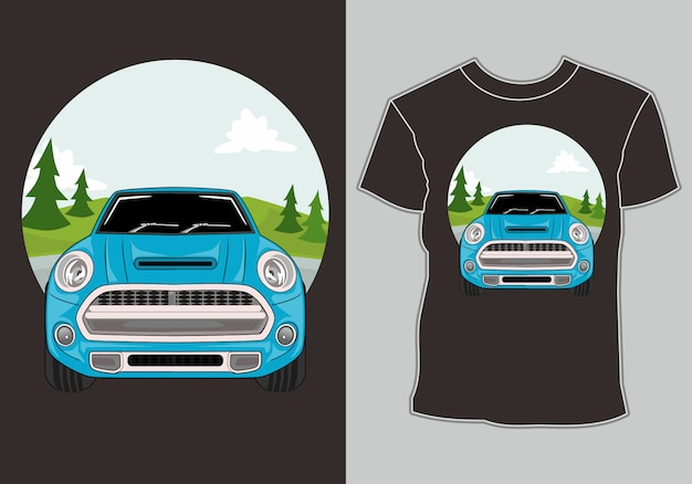 Camiseta verano, retro vintage car en playa