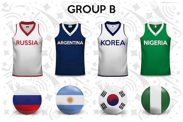 Camisetas de baloncesto. conjunto de camisetas y banderas de los equipos nacionales.